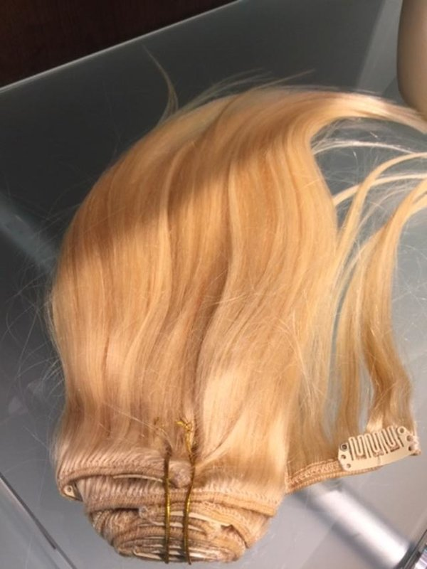 Echthaar Clip in Hair Extensions 40 cm, Farbe: Blond 613